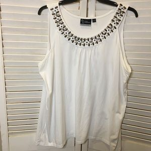 Catherines White tank top wood and metal accent